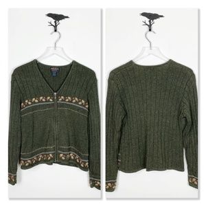 Woolrich Green Embroidered Zip Up Sweater Cardigan